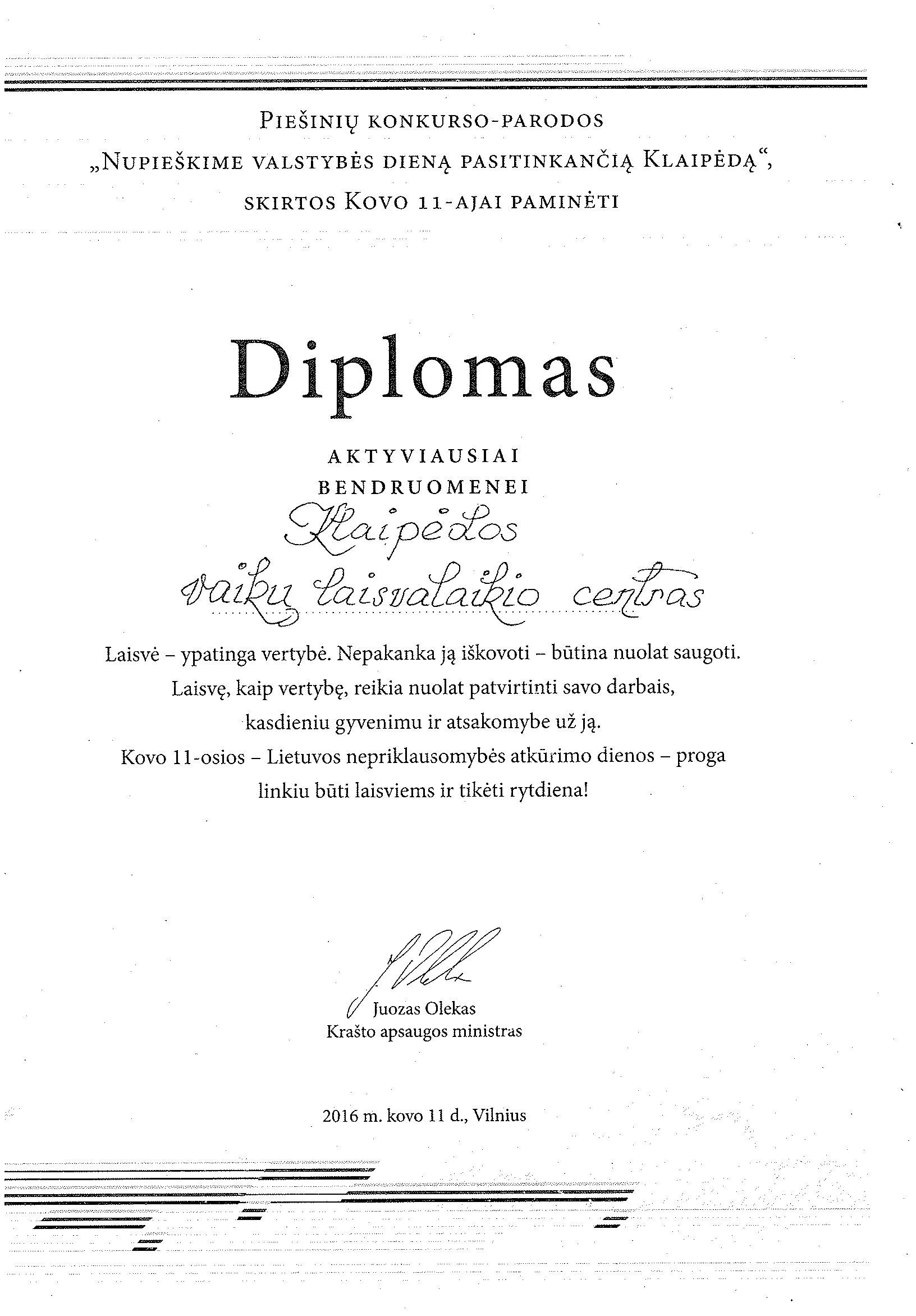 Diplomas_aktyviausiai_bendruomenei